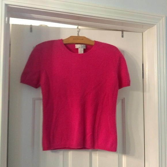 100% Cashmere* Tops - 100% Cashmere Pink Short Sleeve Sweater, S